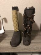 Ugg Boots Fur Australia Bailey Triplet Bow Tall Size 7 1007308 Chocolate Brown