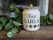 Garlic Keeper Ceramic For Counter - Farmhouse And Vented Storage Container To Keep