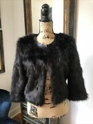 Bebe Very Rare Faux Fur Leather Trim Sexy Jacket Coat S 2 4 138 Stunning