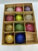 Vintage Feather Tree Glass Fancy Pinecone Ornaments Very Unique Rare