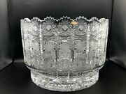 Vintage Large And Heavy Bohemian Czech Hand Cut Queen Lace Crystal Bowl, 11 1/2 D