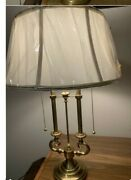 Vintage Brass Stiffel Lamp French Bouillotte Double Candlestick/original Shade