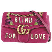 Gg Marmont Chain Shoulder Bag Double Shawl Flower Blind Fou Love No.2236