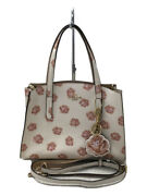 Coach Handbags Leather Wht Floral Bag Previously Owned From Japan Fedex No.8021