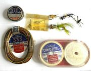 Vintage Fly Fishing Lot Containing Flies-line-leaders-cleaner Cartland 333