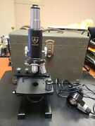 Vintage 1950s Ao American Optical Spencer Microscope W/ Case