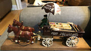 Vintage Fresh Fruits And Vegetables Cast Iron Horse Drawn Wagon Toy