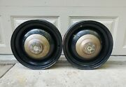 2 Antique Vtg 1930and039s Packard Motor Car Co Solid Steel Wheel Rims W Gold Hub Caps