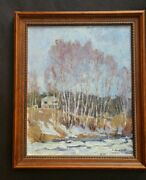 Antique Oil Painting N. Munsee Trees Landscape House Primitive Feel Signed