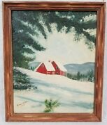 Vintage Rennes Bowers Winter Barn Oil Painting