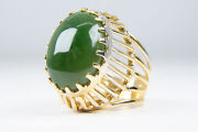 Retro 14k Yellow Gold Nephrite Jade Cabochon Cocktail Ring