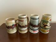 Lot Of 4 Budweiser Christmas Holiday Steins 1980 1981 1982 1983