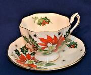 Vintage 1960s Queen Anne Fine China England Noel Set Footed Cup And Saucer 5418