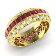 3.70 Ct Natural Ruby Engagement Ring 14k Yellow Gold Real Diamond Band Size 6 7