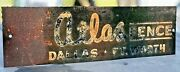 Vintage 1960and039s Atlas Fence Co Metal Sign 14 X 4 Dallas Fort Worth Texas Globe