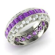 3.70 Ct Natural Amethyst Engagement Ring 14k White Gold Diamond Band Size 6 7 8