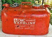 Vintage Omc Gasoline Fuel Tank Outboard Motor 6 Gallon Red Metal Gas Can Boat