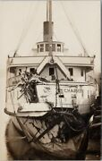 Vancouver Bc Ss 'charmer' Steamship After English Bay Collision Rp Postcard G94