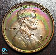 Awesome Color 1917 D Lincoln Cent Wheat Penny -- Make Us An Offer P9284