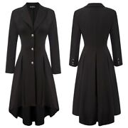 Clothes Coat Outwear Sd Womenand039s High-low Lapel Collar Placket Party Soft