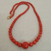 Red Coral Necklace Beads Decrease 13 Mm To 4.5mm And Sterling Silver Clasp.