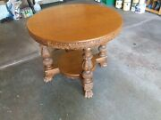 Antique Hand Carved Claw Foot Round Parlor Table With Shelf 36 Tiger Oak