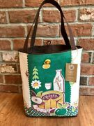 Martex Cheddar Cheese Green And Gold Vintage Kitchen Tea Towel Tote Bag New
