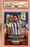 2014 Panini Prizm World Cup Blue And Red Wave Lionel Messi 12 Psa 9 Mint Low Pop