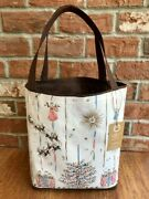 Pink Gold Mid Century Vintage Christmas Towel Tote Bag Sleigh Trees Ornaments