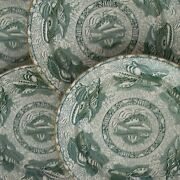 Mottahedeh - Torquay - 4 Green Transfer Decorated Dinner Plates - Circa 1990's