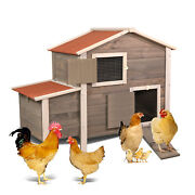 Wooden Chicken Coop Hen House With Removable Tray Andventilation Door Nesting Box