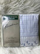 Vintage Fieldcrest Cannon Percale Twin Sheets Blue And White Eyelet Set New
