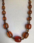 Vtg Estate Baltic Cherry Red Honey Amber Olive Bead Glass Necklace 42andrdquo 124g
