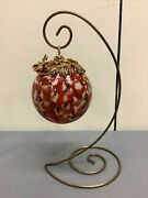Jay Strongwater Holiday Red Jewel Estate Glass Ornament W/stand Signed