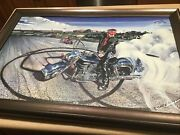 Eric Herrmann Hand Signed Canvas Painting 20 X31 Framed Motorcycle 02/50 Early