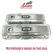 Big Block Chevy 502 Valve Covers - Polished, Classic Finned- Ansen, Made In Usa