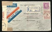 Wwii Australia To Switzerland With Germany Censor 1943 And German Stamps.