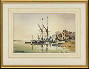 John Snelling Frsa B.1914 - Mid 20th Century Watercolour Barges At Pin Mill