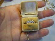 Superb Victorian Solid 18ct Gold Andplatinum Ring-with 3 Finest Old Diamonds Siz L