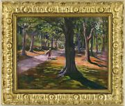 Figure Wooded Path Antique Oil Painting By Hilda Margaret Fairbairn 1868-1917