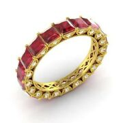 3.75 Ct Natural Ruby Engagement Eternity Ring 14k Yellow Gold Diamond Band Size