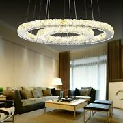 Modern Led Crystal Chandeliers Two Rings Pendant Lamp Round Ceiling Light Usa