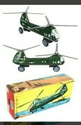 Vintage Friction Powered Tin Toy Hu Navy Helicopter West Germany Circa 1960s