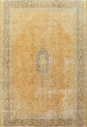 Antique Kirman Floral Hand-knotted Area Rug Orange Oriental Large Carpet 10and039x13and039