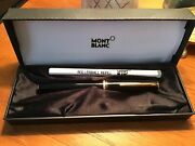 Mont Blanc Black Pen Gold Trim Original Box Blue Ink With Extra Refill, Booklet