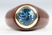 18k Yellow Gold Blue Zircon And Brown Wood Grain Celluloid Ring