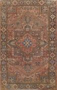 8and039x11and039 Antique Geometric Heriz Hand-knotted Area Rug Dining Room Oriental Carpet