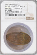 1935 San Diego California-pacific Expo Elongated 1929-d Penny - Ms65 Ngc Token