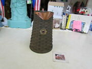 2006 Longaberger Large Woven Pitcher Basket W/copper Accents, Protector And Tie-on