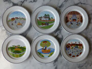 Set Of 6 Villeroy And Boch Design Naif Laplau Salad Plates Country Scenes Xlnt